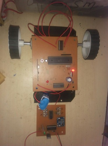 Accelerometer based wireless robotic vehicle with hand